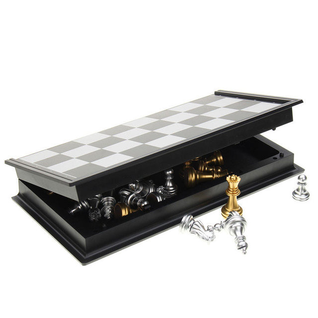 Offre spéciale jeu d'échecs argent or pièces pliant magnétique pliable conseil contemporain ensemble Fun famille jeux de société cadeaux de noël 5