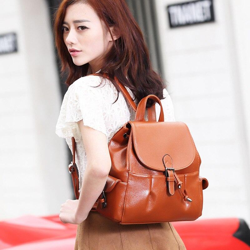 100 Genuine leather Women Backpack Designer Female Backpacks Students School Bags Fashion Genuine Leather Travel Backpack