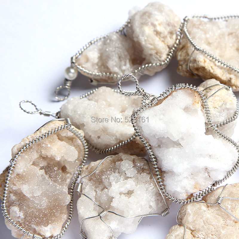 2 pcs Wire Wrapped Agate Decor, Unisex Jewelry, Rustic Stone Pendant ...