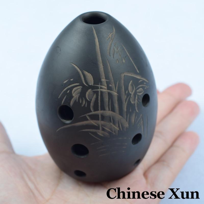 Китайский древний ксун флейта черный керамика Музыкальные инструменты Китай Этническая музыка вертикальный ветер Flauta 8 отверстий Начинающ...