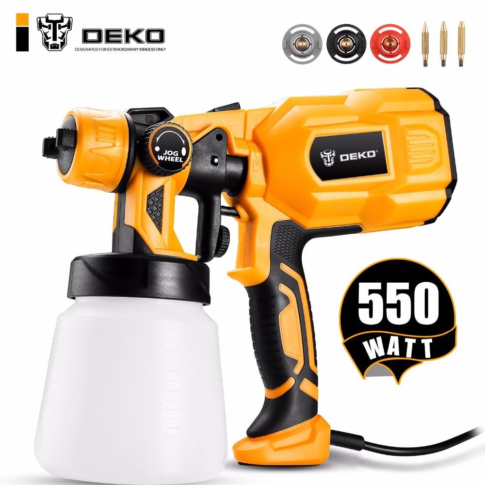 DEKO DKCX01 Pistola, 550 W 220 V de Alta Potência Casa Pulverizador Pintura Elétrica, 3 bico Fácil de Pulverização e Limpeza Perfeita para Iniciantes