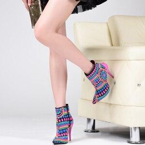 Image 5 - العلامة التجارية الوردي النخيل أحذية النساء أحذية الشتاء الذهب الترتر القماش عالية الكعب حذاء من الجلد للنساء أشار تو أحذية النساء الموضة