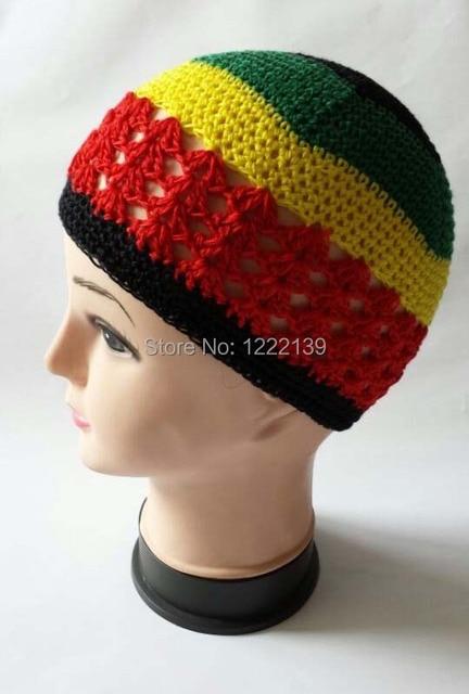 NEW Net Rasta Handmade Crochet KUFI Jamaica Colors Beanie Hat Knitted  Reggae Style Cap Adult Size 30PCS LOT 7b555be78afd