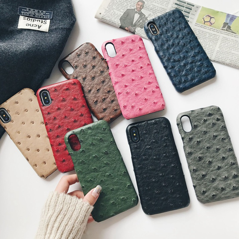 Ostrich imitation leather case for iphone XS Max XS XR 6 6S 7 8 plus oil