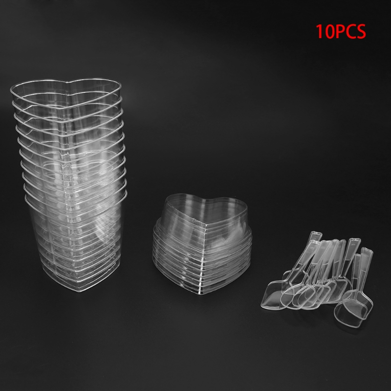 10Pcs Disposable Hard Plastic Mousses Dessert Cup Heart Shape With Spoons Lids in Other Dessert Tools from Home Garden