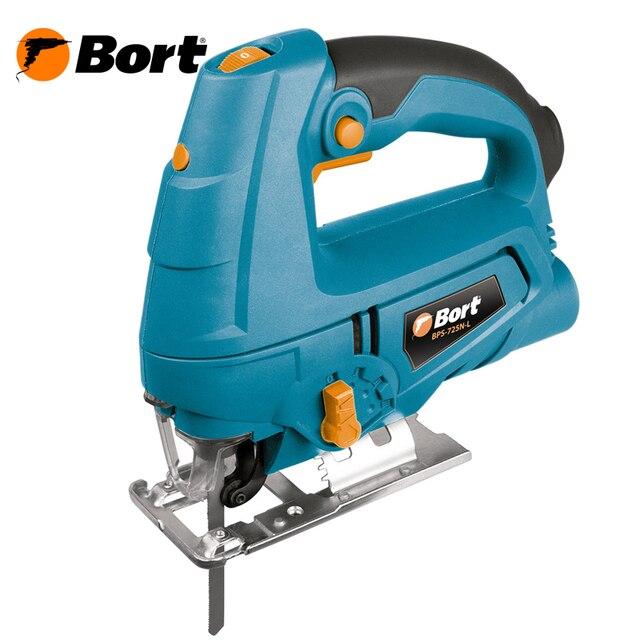 Лобзик электрический Bort BPS-725N-L (Мощность 710 Вт, регулировка скорости 0-3000 об/мин, маятниковая функция, глубина пропила: дерево - 80 мм, металл - 10 мм, лазерная направляющая, адаптер для пылесоса)
