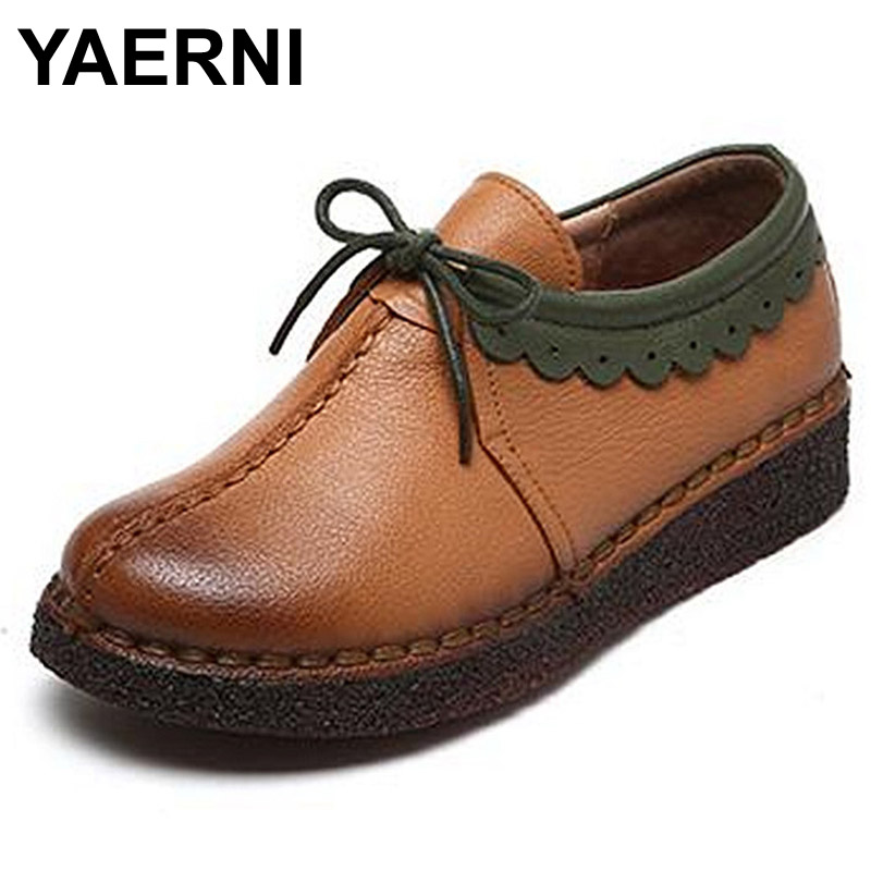YAERNI Women Genuine Leather Shoes Flats Footwear Casual Lace Round Toe Retro Shoes High Quality Handmade Soft Shoes yaerni 2017 retro style women shoes flats platform handmade flower genuine leather thick heels round toe women causal shoes