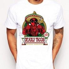 08c313c22863d6 2019 śmieszne Deadpool z Tacos koszulka z nadrukiem dla mężczyzn Boy nowość  męska Hipster T shirt topy moda Tees