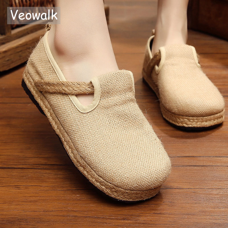 Veowalk Womens Casual Plain Linen Cotton Loafers Breathable Vintage Style Ladies Slip on Canvas Walking Flat Shoes Hemp Bottom(China)