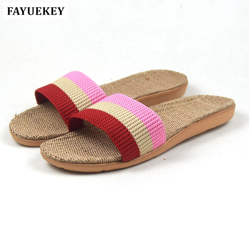 FAYUEKEY New Fashion Summer Home Striped Linen Shower Slippers Women Indoor\ Floor Non-slip Beach Slides Flat Shoes Girls Gift coolsa women s summer flat non slip linen slippers indoor breathable flip flops women s brand stripe flax slippers women slides