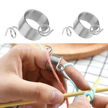 Metal Yarn Guide Knitting Thimble for Crafts Tool Finger Spring Guides Needle Sewing Accessories
