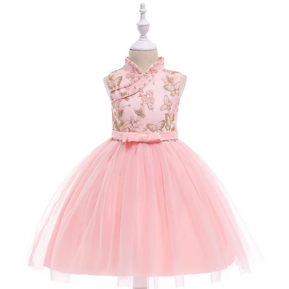 New High Neck Pink Embroidery   Flower     Girls     Dresses   Sleeveless Kids