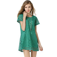 2019 latest summer hot sale solid color short-sleeved round neck lace high quality sexy fashion temperament dress