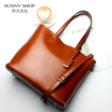 SUNNY SHOP American Fashon Design Women Shoulder Bag  Genuine Leather Women Bag Cowhide Handbags Real leather cow skin Bag