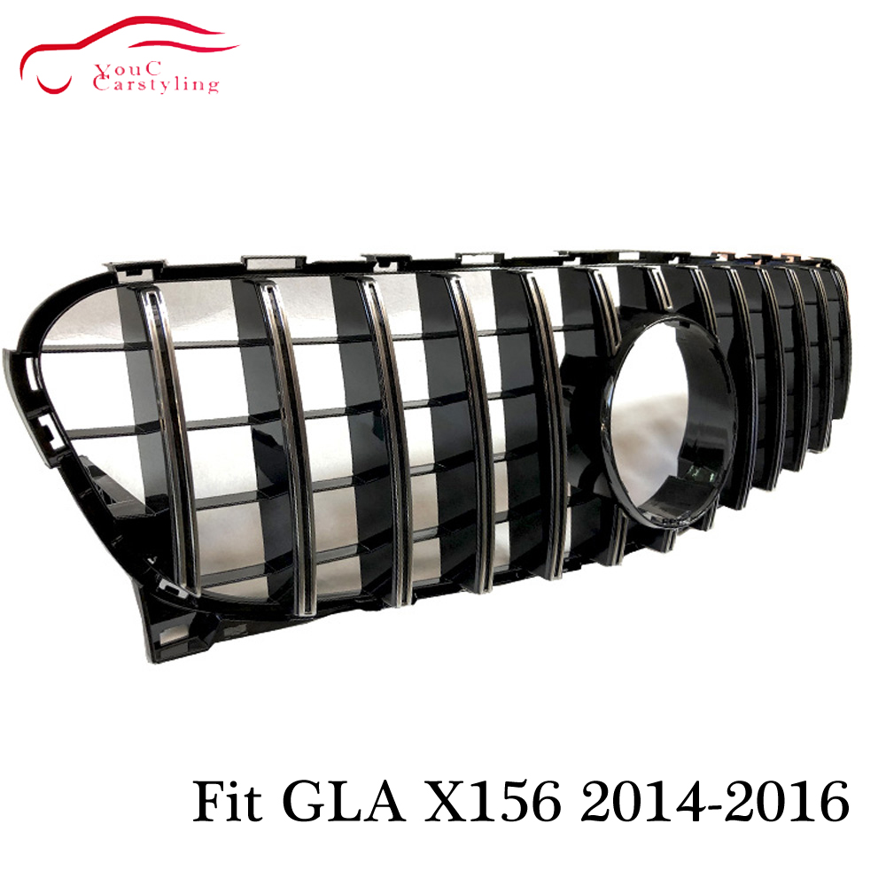 X156 GT grille R GTR Style Front Hood Grill Mesh for Mercedes GLA class 2014 2015 2016 GLA200 GLA250 SUV Silver