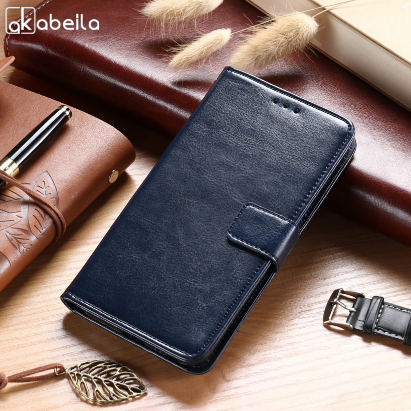 AKABEILA Cases For Huawei Honor V9 Play 5.2 Inch Leather Wallet Phone Covers Cases Business Holsters Flip Card Holders Housings