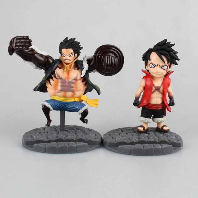 Anime One Piece Four Gear Luffy Mobile Phone Holder Japanese Bandai 11Cm Cool Pvc Action Figure