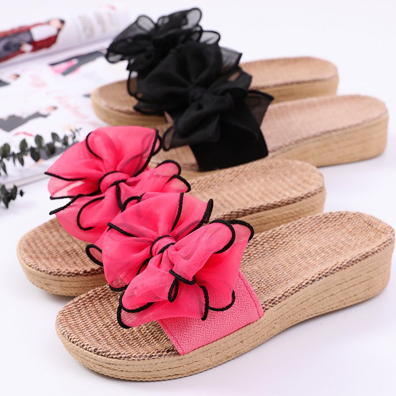 Women Indoor Slippers Breathable Flax Botknot 2019 Summer