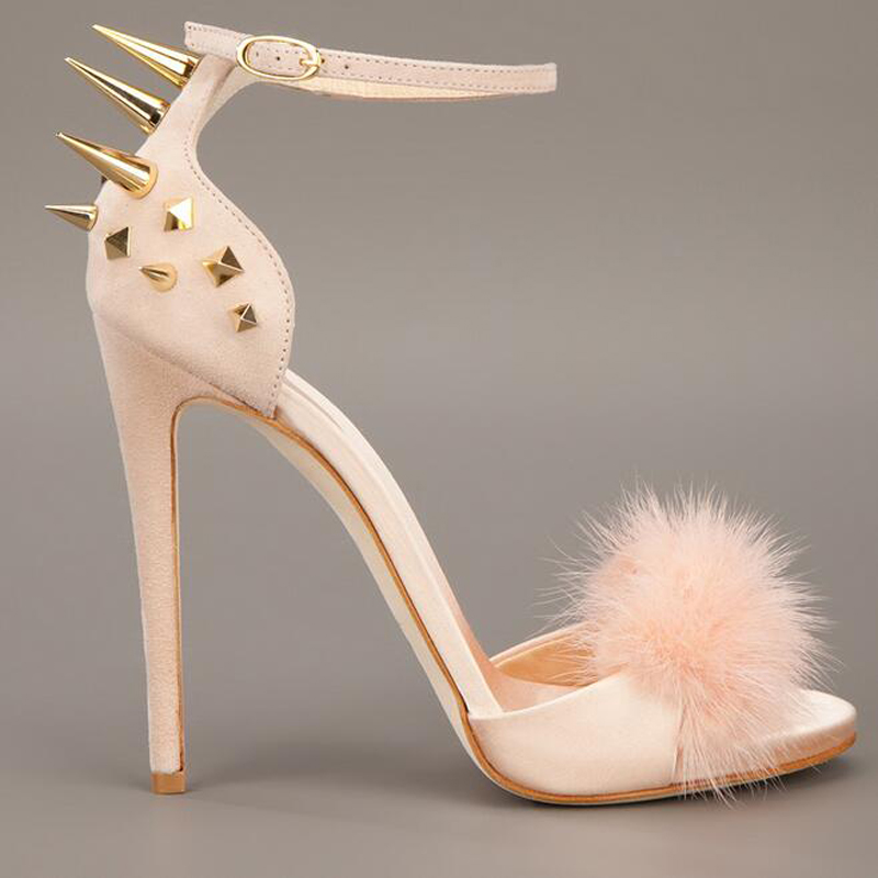 Fashion Trend High Heel Sandal Rivets Studded Fur Embellished Ankle Strap Sandals New Wedding Party Summer Dress Shoes Women 2017 new arrival abnormal jeweled heels rhinestone crystal embellished high heel sandals ankle strap lock summer party shoes