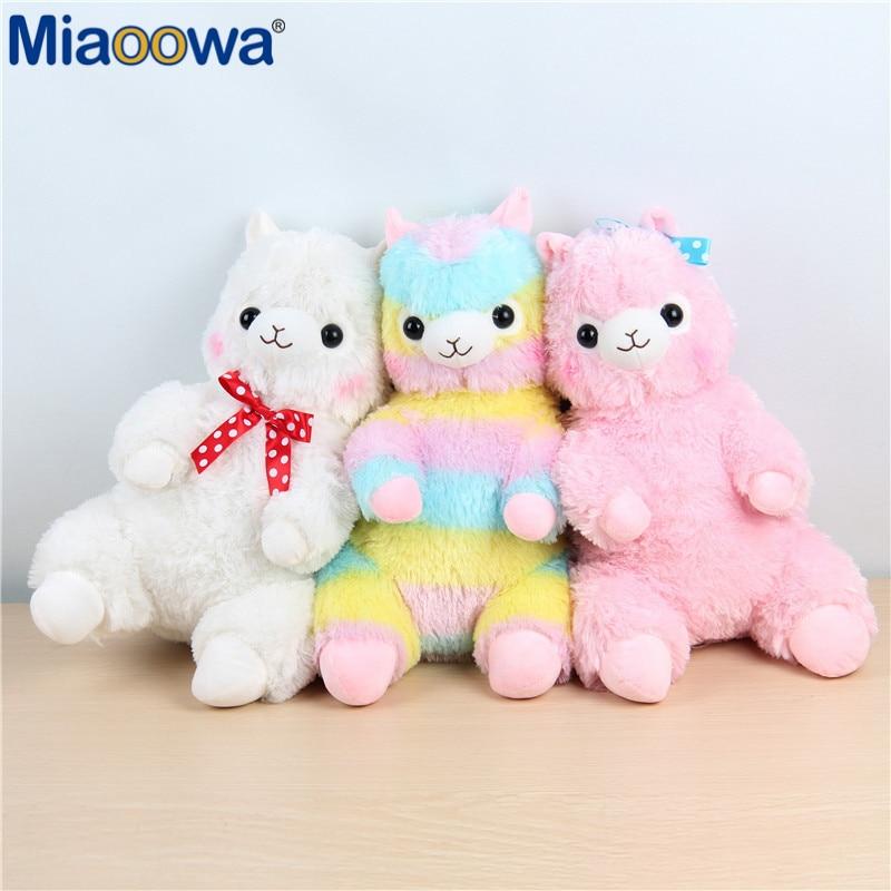 1pc 35cm Kawaii Japanese Rainbow Alpacasso Plush Sheep Toy Soft Plush Alpacasso Baby Plush Stuffed Animals Alpaca Gifts for Kids