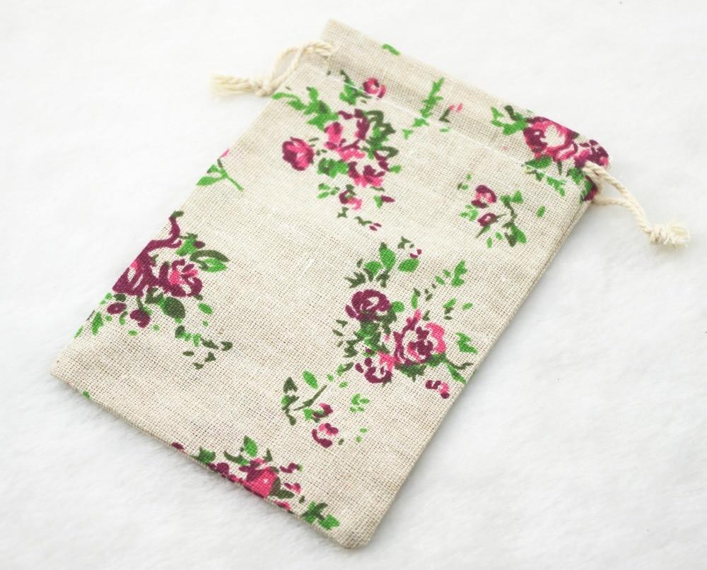 10x14cm Small Rose Vintage Cotton Burlap Jute Favour Candy Gift Bags ...