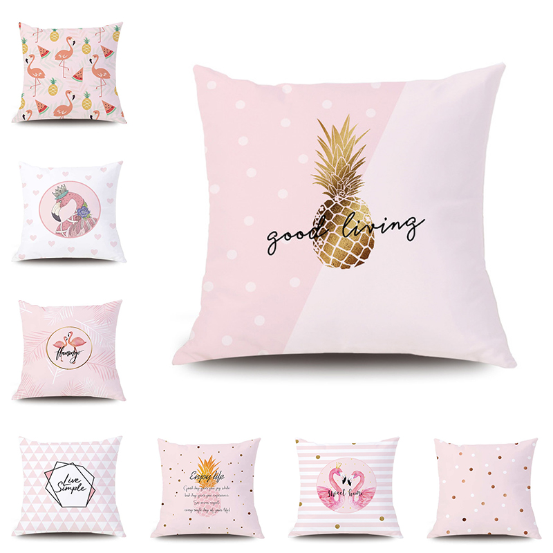 Pink Pineapple Pillow Covers Travel Sleeping Comfortable Cases Simplicity Cushion Cover Seat Decorative Home B-102