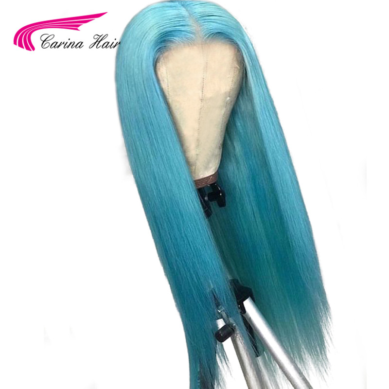 Carina Remy Peruvian Preplucked Long Light Blue Lace Front Wig Navy Pastel Blue Real Full Lace
