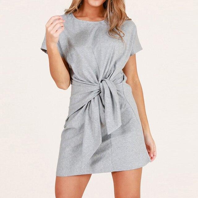 31336bf03 Melhor compra 2019 Verão Nova Moda Cor Sólida Vestido Casual O ...