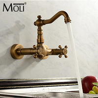 Antique Kitchen Faucet Wall Cold And Hot Double Handle Kitchen Water Mixer Tap