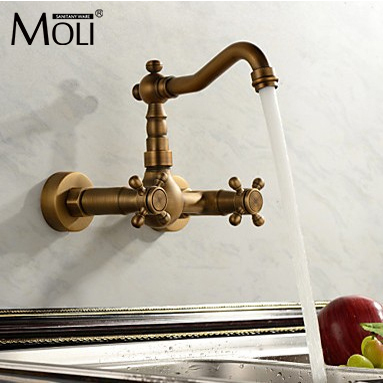 Antique Kitchen Faucets Aid Dishwashers Faucet Wall Cold And Hot Double Handle Water Mixer Taps Mounted Sink