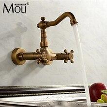 Античная смеситель для кухни настенный холодной и горячей Двойная ручка кухня воды смесителя