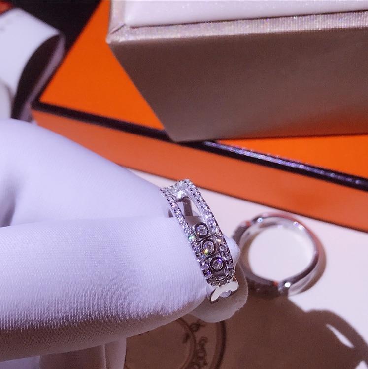 Déplacer pierre doigt Couple anneaux CZ anneaux mobiles pour les femmes bague de mariage 925 en argent Sterling France bijoux meilleure qualité en gros