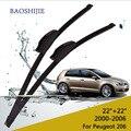 "Limpiaparabrisas para Peugeot 206 (2000-2006) 22 ""+ 22"" estándar fit J gancho limpiaparabrisas brazos"