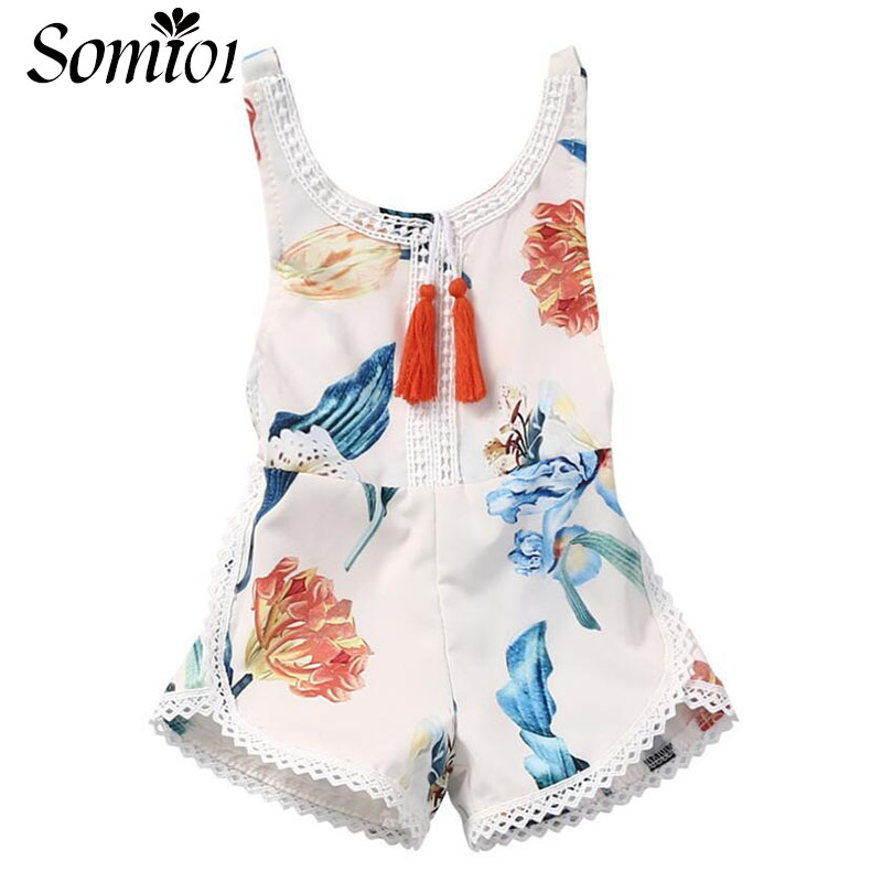New Summer Baby Girl Romper Floral Printed Sleeveless Girls Clothes 2017 New One-pieces Overalls for Infant 1 2 3 4 Years Kids one pieces cute newborn infant baby girls sleeveless black floral romper outfits summer sunsuit clothes