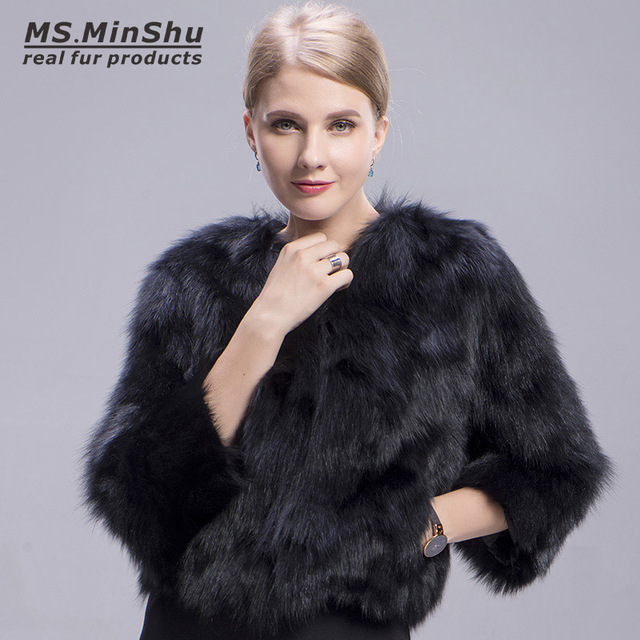 349ff79fd Black Fox Fur Coat Winter Fluffy Thick Fur Jacket For women Genuine Fox Fur  Outerwear Girl Short Dyed Color Ms.MinShu
