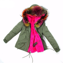 real thick furry Raccoon Fur whole pcs fur jacket  coat female padded hood casual down winter colorful collar super women parka