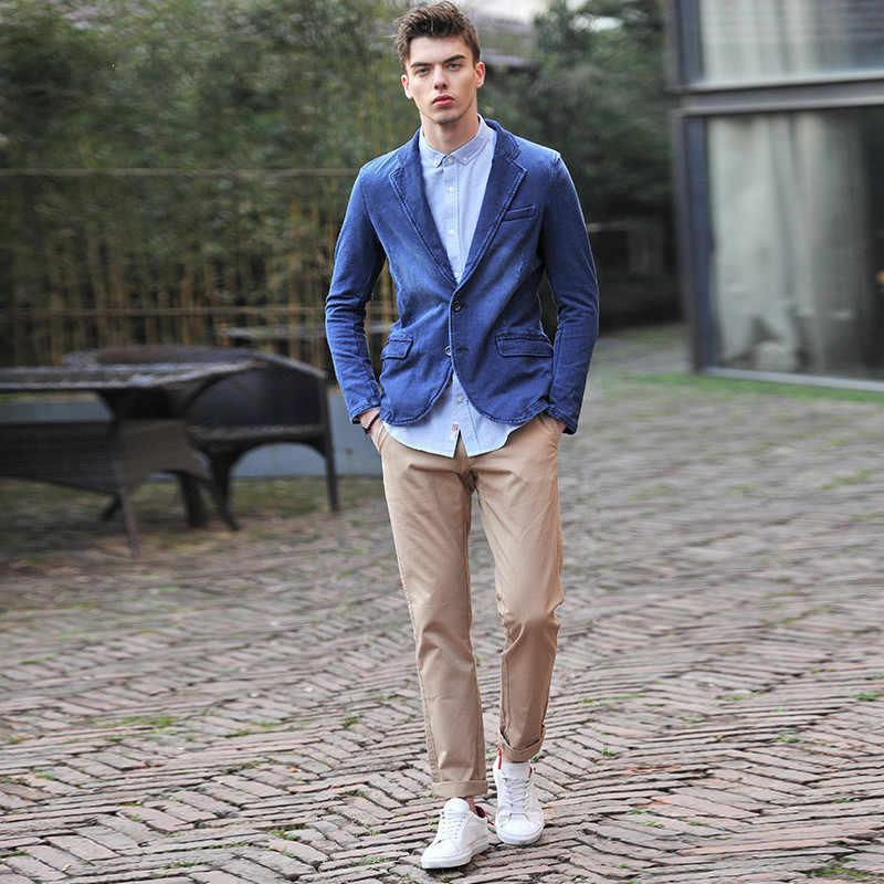68ab73baeb9 ... 2019 Новое поступление брендовая одежда Для мужчин куртки синий блейзер  из денима Весна Slim Fit джинсы ...