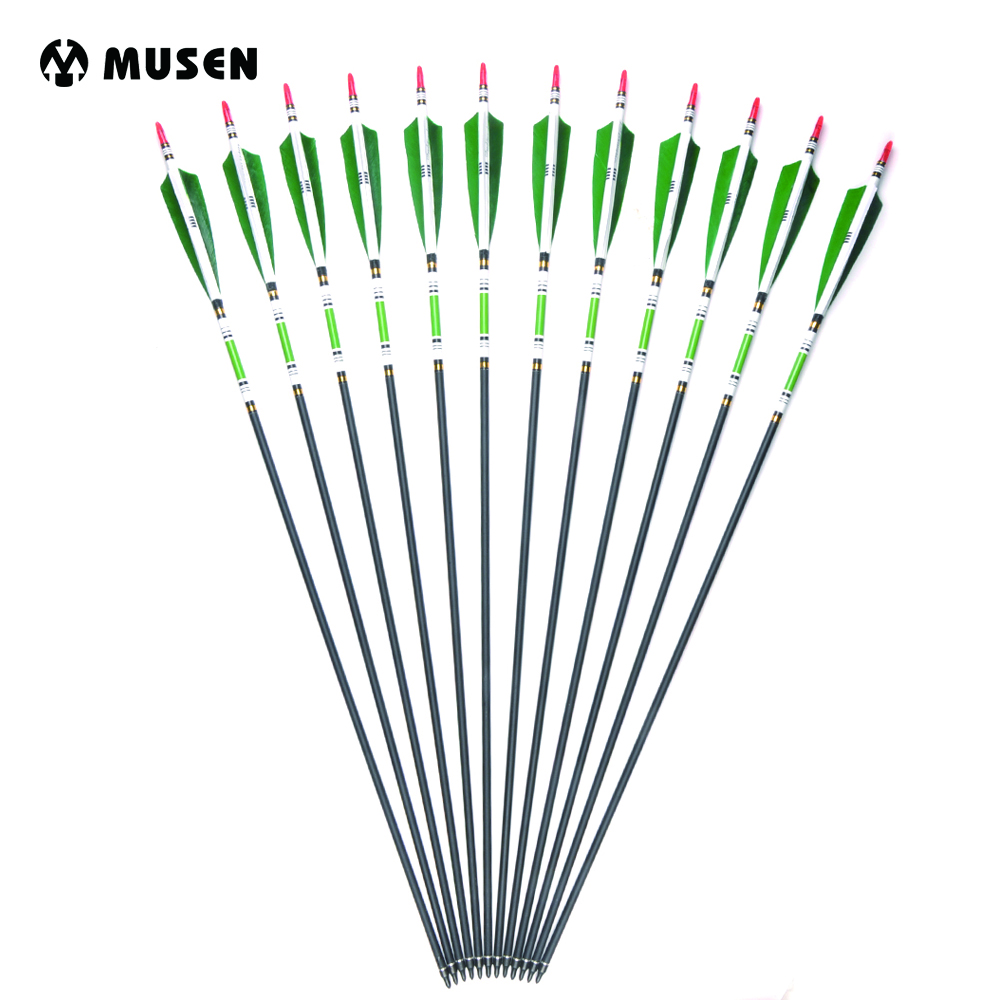6 Colors 6/12pcs 80cm Spine 500 Carbon Shaft Arrows with True Turkey Feather for Hunting Shooting and Archery Training Archery