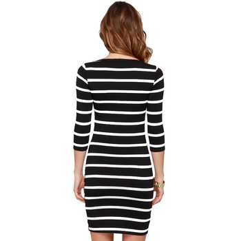 black and white stripes long sleeves Slim plus size casual dress 3