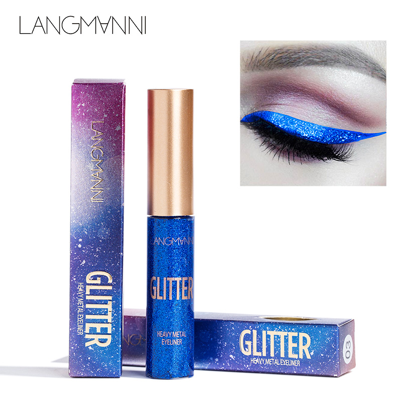 langmanni 10Color Glitter Eyeliner Makeup Natural Waterproof Pigments Shimmer White Gold Silver Make Up Liquid Shining eye liner