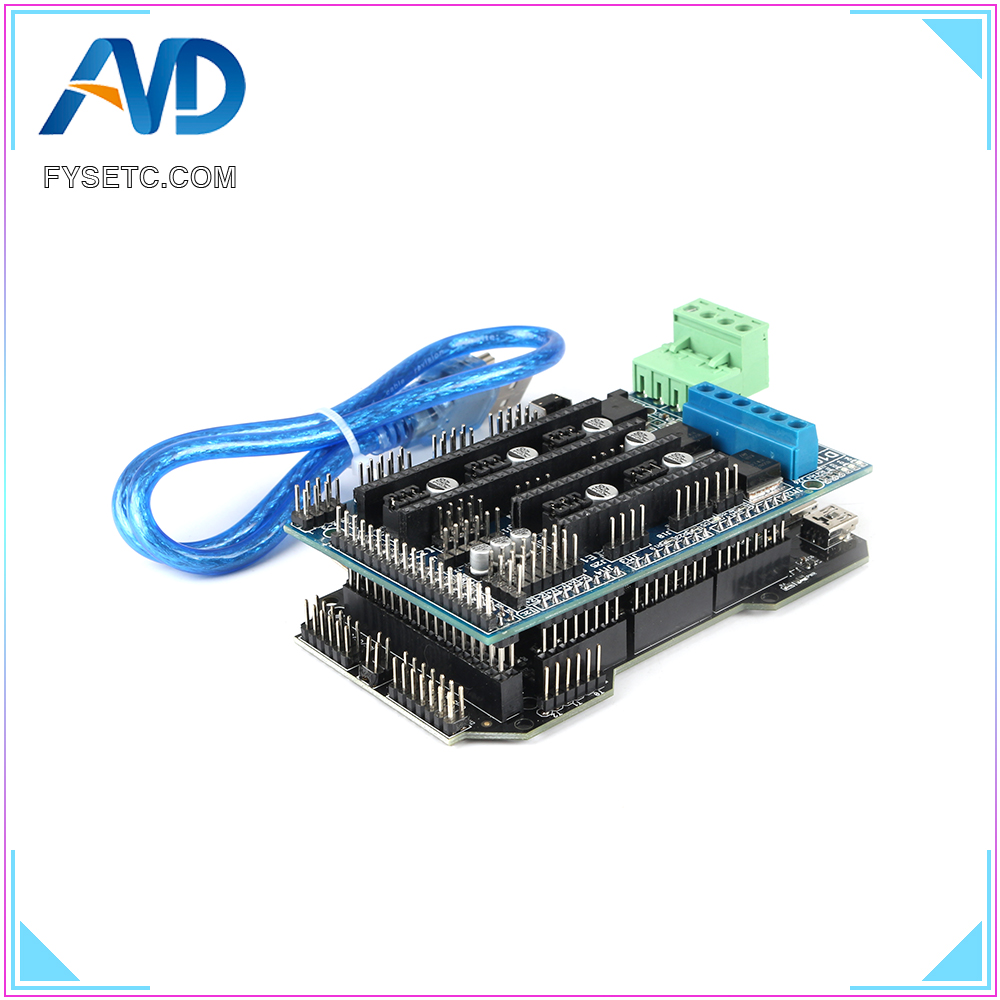 Imprimante 3D pièces RE-ARM carte de contrôle 32 bits mise à niveau Mega 2560 R3 + rampes 1.5 panneau de commande + 5pcs TMC2208 V1.2 UART moteur pilote - 5