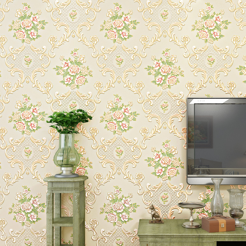 beibehang wallpaper relief papel de parede Korean countryside large flower tea millet open living room full of shops wallpaper beibehang papel de parede 3d dimensional relief korean garden flower bedroom wallpaper shop for living room backdrop wall paper