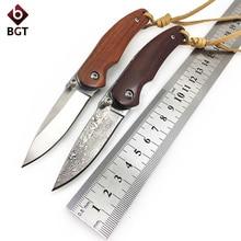 купить BGT Hunting Folding Knife Camping Survival EDC Handmade Pocket Knives Tactical Combat Tool 8CR18MOV / 9CR18 Damascus Wood Handle по цене 545.15 рублей
