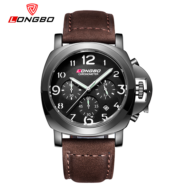 LONGBO fashion Men Sports Watches Men's Quartz 24 Hours Date Clock Man Leather Strap Military Army Waterproof Wrist watch 2016 weide new men quartz casual watch army military sports watch waterproof back light men watches alarm clock multiple time zone