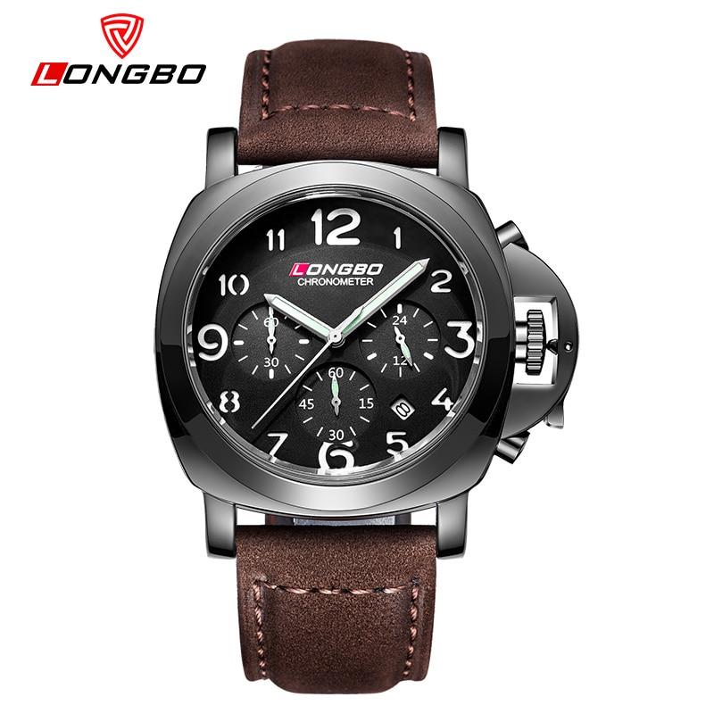LONGBO fashion Men Sports Watches Men's Quartz 24 Hours Date Clock Man Leather Strap Military Army Waterproof Wrist watch 2016 цена и фото