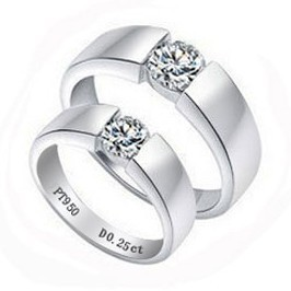 4986672d53 Ring For Women 925 Sterling Silver Platinum Plated Ring Engagement Ring  Romantic Gift Couples Rings Simulated Diamond