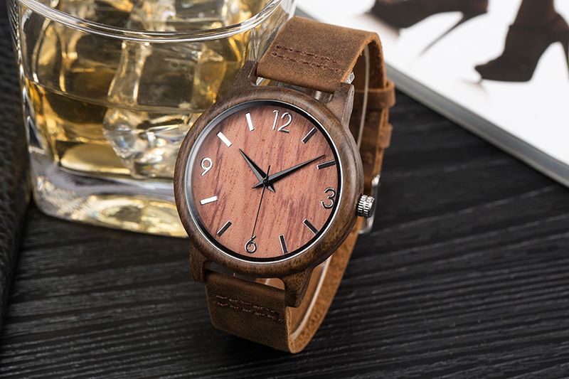 SIHAIXIN Man Watches Classic Luxury Leather Straps Quartz Male Clock Engraved With Personal Text Wood Wristwatch Gift For Him 14