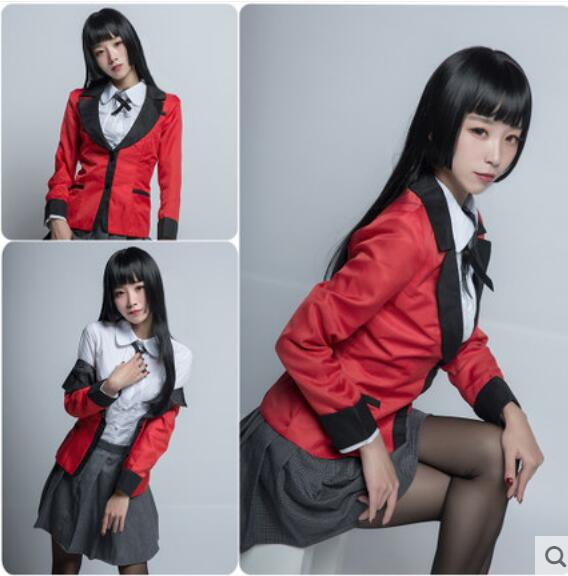 Anime Kakegurui COSPLAY Jabami Yumeko COS Halloween Party Academy girls uniforms Costumes Free shipping Full set