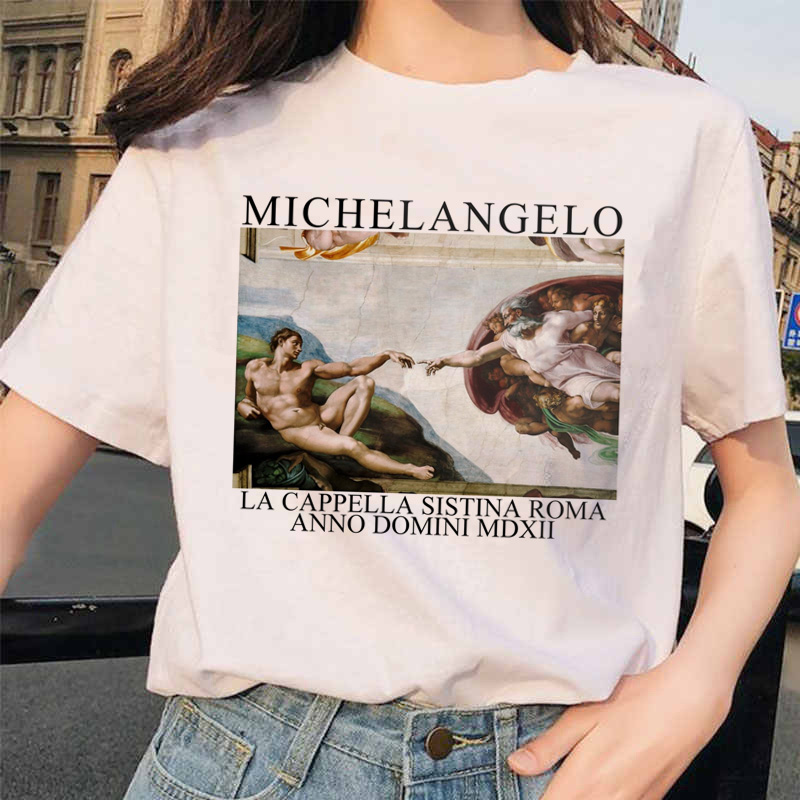 Michelangelo Hands T Shirt Ulzzang Vintage Women Aesthetic Tshirt 90s T-shirt Aesthetic Female Grunge Graphic Femme Harajuku