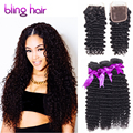7A Brazillian Deep Curly Hair With Closure 3 Bundles Beauty Bling Hair With Closure Brazilllian Deep Wave Weaves With Closure